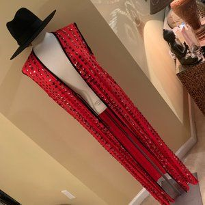 Free People Red / Silver Sleeveless Kimono Sequin
